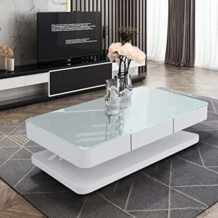 White Gloss Coffee Table Glass Top with 2 Drawers Living Room Furniture Modern
