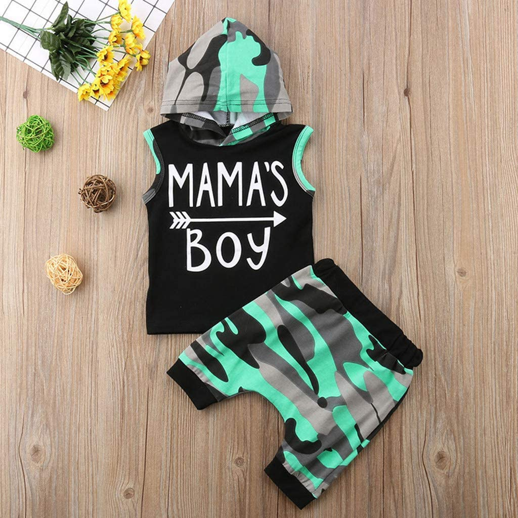 WARMSHOP 2Pcs Toddler Boys Girls Layette Sets Letter Mamas Boy Print Vest Hooded Tops+Camouflage Shorts Outfits Sets 3-6 Months, Black