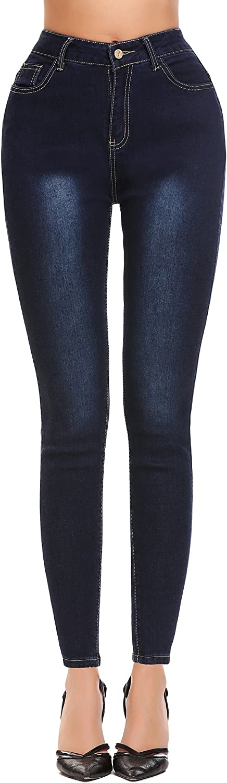 Lomon Jeans Femme Denim Pantalons Skinny Taille Haute Jeans Slim Leggings Collant Crayon Casual Pants