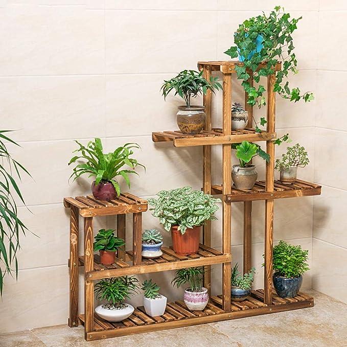 Amazon Com Wooden Plant Stand Flower Shelf Holder 5 Tier Storage Rack Shelving Unit Pot Shelves Bonsai Display Storage Rack Outdoor Indoor Garden Patio For Multiple Plants 37 4x9 84x37 79 Inches