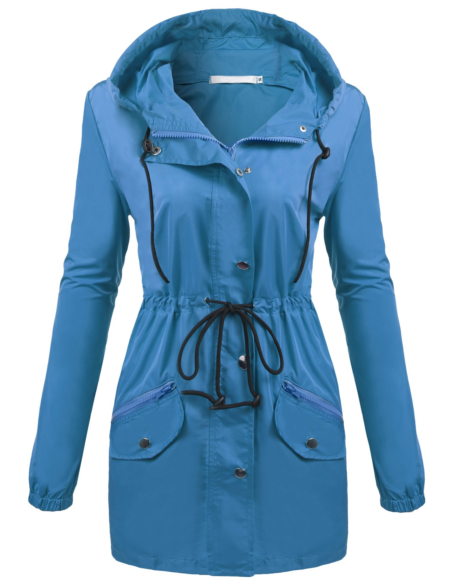 UNibelle Rain Jacket Women Lightweight Hooded Waterproof Raincoat Sky Blue
