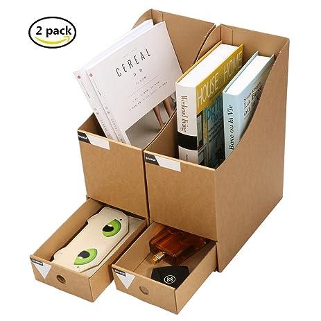 Caveen Magazine Holder With Drawer Kraft Paper File Holder Office Supplies  Desk Storage Organizer Documents File