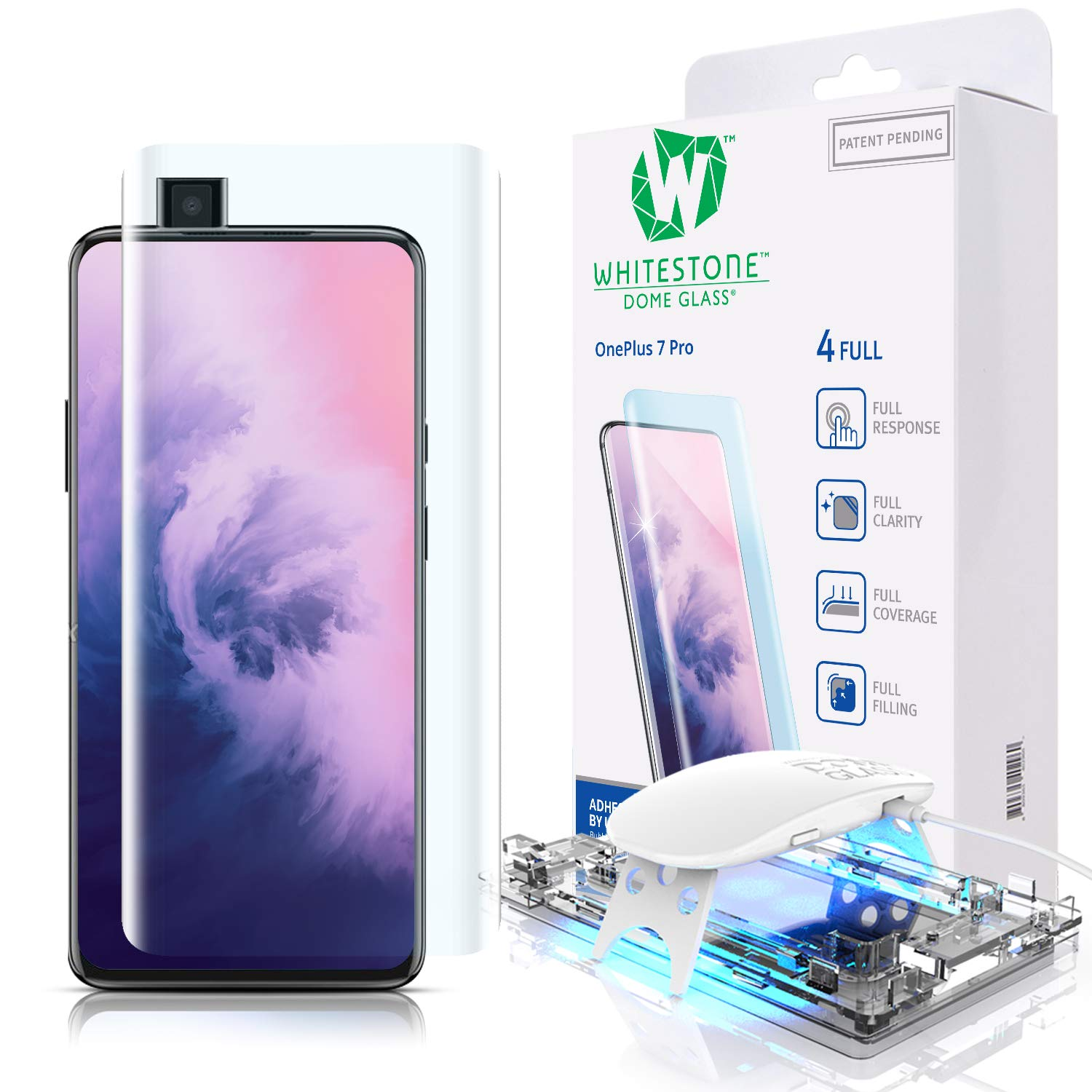 Tempered Glass Screen Protector for OnePlus 7 Pro and 7 Pro 5G, [Dome Glass] Full 3D Curved Edge Exclusive Solution, Easy Install Kit by Whitestone for OnePlus 7 Pro and 7 Pro 5G - 1 Pack