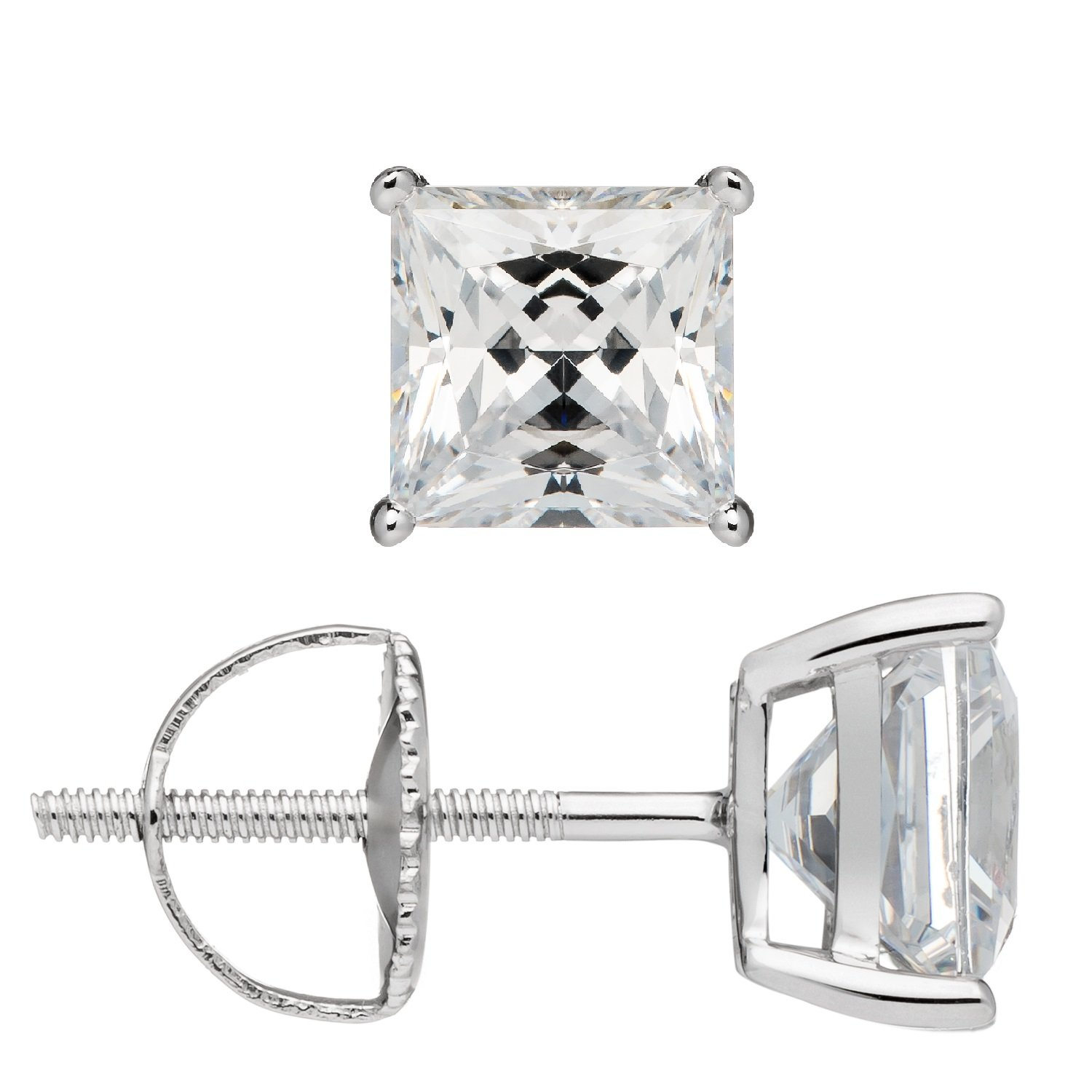 Everyday Elegance | 14K Solid White Gold Earrings | Princess Cut Cubic Zirconia Stud | Screw Back Posts | 3.0 ctw | Gift Box