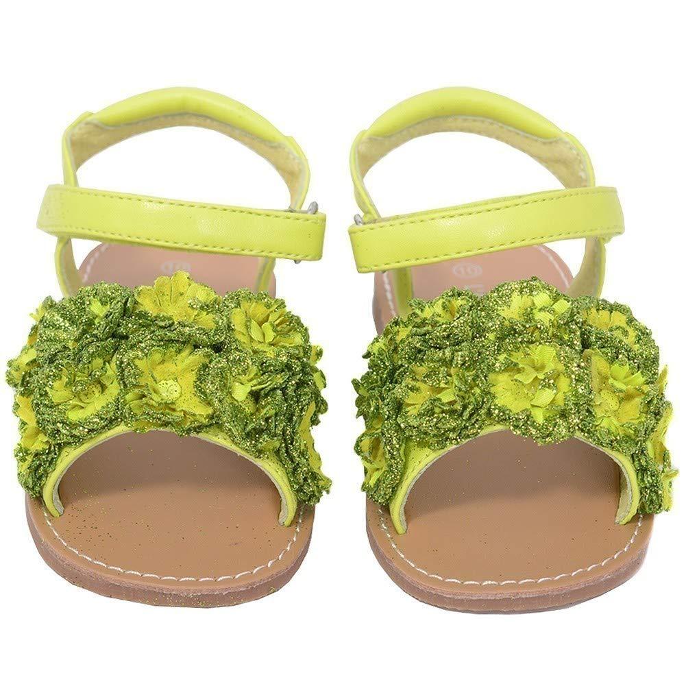 LAmour Lime Sparkle Flower Summer Sandal Toddler Girl 5-10