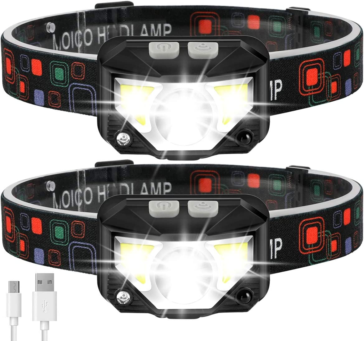 Headlamp Flashlight, MOICO 1000 Lumen Ultra-Light Bright LED Rechargeable Headlight with White Red Light, 2 Pack Waterproof Motion Sensor Head Lamp, 8 Modes for Outdoor Camping Cycling Running Fishing - -