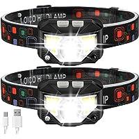 Headlamp Flashlight, MOICO 1000 Lumen Ultra-Light Bright LED Rechargeable Headlight with White Red Light, 2 Pack…
