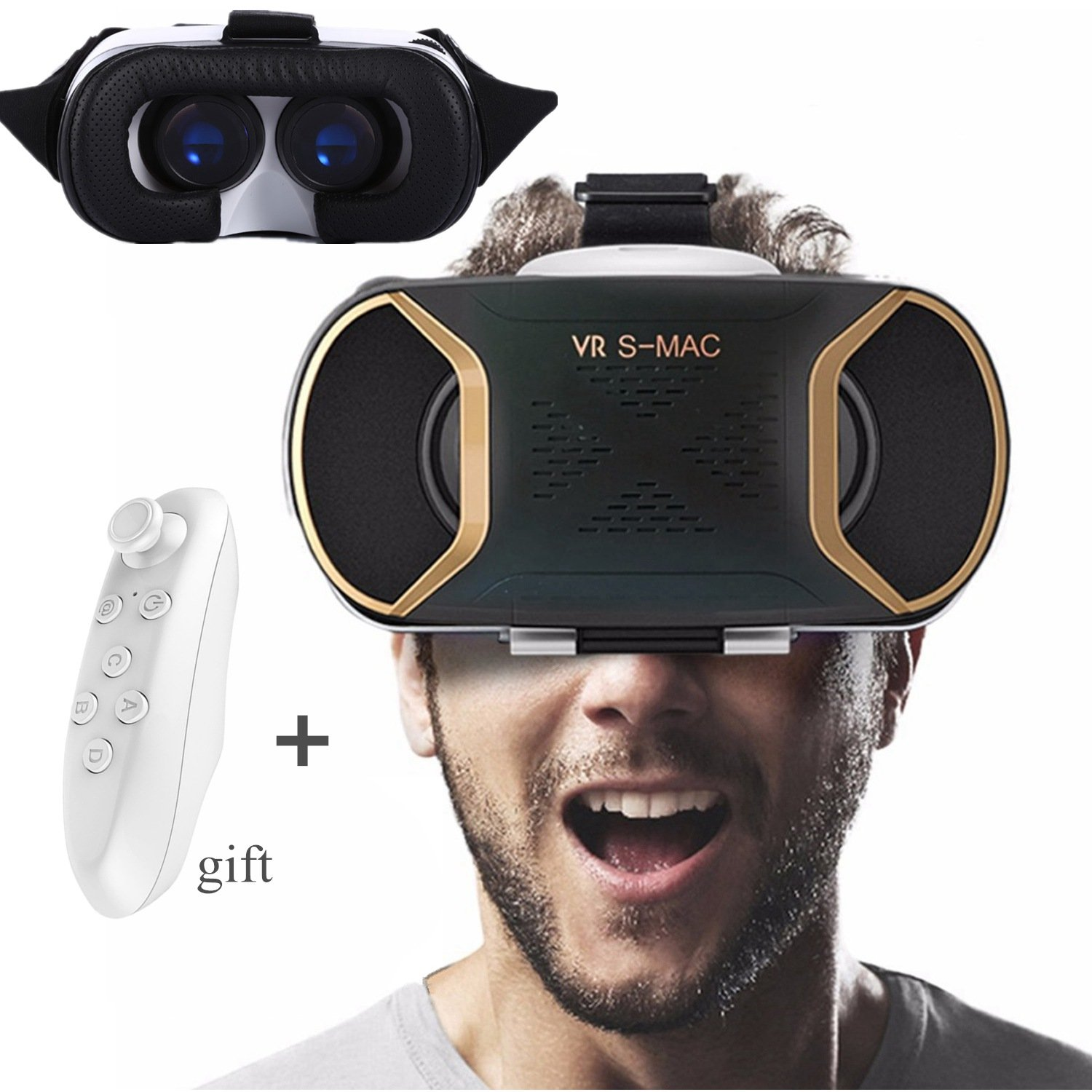"3D VR Headset with Remote Controller, TSANGLIGHT VR Glasses 3D IMAX 360° Game Movie Video Viewer for 4.5-5.5"" iOS/Android Smartphones iPhone 8 7 6S 6 Plus Samsung S7 S6 LG HTC etc - Blue Lens - Gold 4332703177"