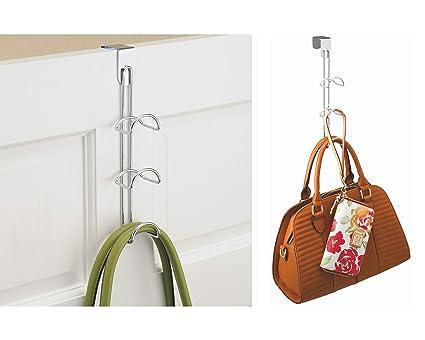 iDesign Perchas ahorra espacio para el armario, organizador de bolsos pequeño de metal, organizador colgante con 3 ganchos para bolsos, pañuelos u ...