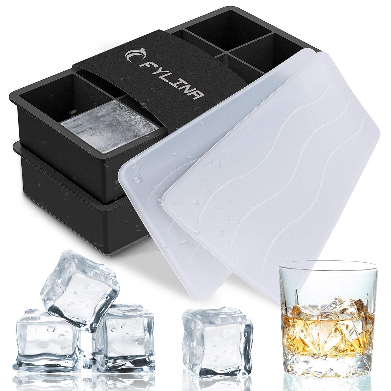 FYLINA Ice Cube Tray, Silicone, Black and White, Large: Amazon.co.uk ...