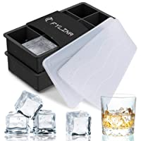 FYLINA Ice Cube Trays, 2 Pack Silicone Large Ice Cube Trays with Lids, Ice Cube Molds & 8 Cavity Ice Maker Tray for Whiskey Body Food Cocktail Drinks