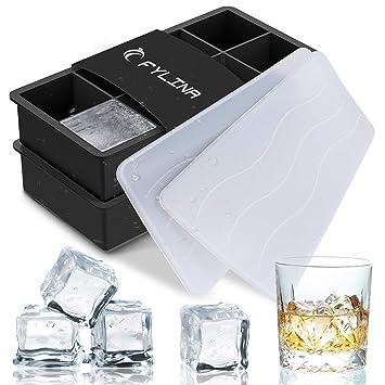 Fylina Bandejas para cubitos de hielo, 2 unidades de silicona grande cubitos de hielo con