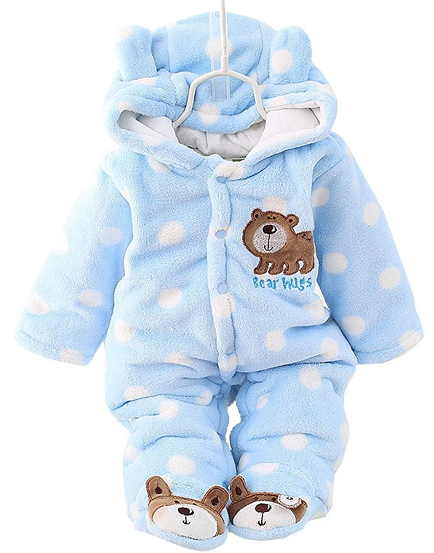 Happy Cherry Baby Toddler Winter Thicken Rompers Dots Print Bear Footies Hoodies