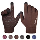 Achiou Winter Warm Touchscreen Gloves for Women Men Knit Wool Lined Texting (Coffee, X-Large)