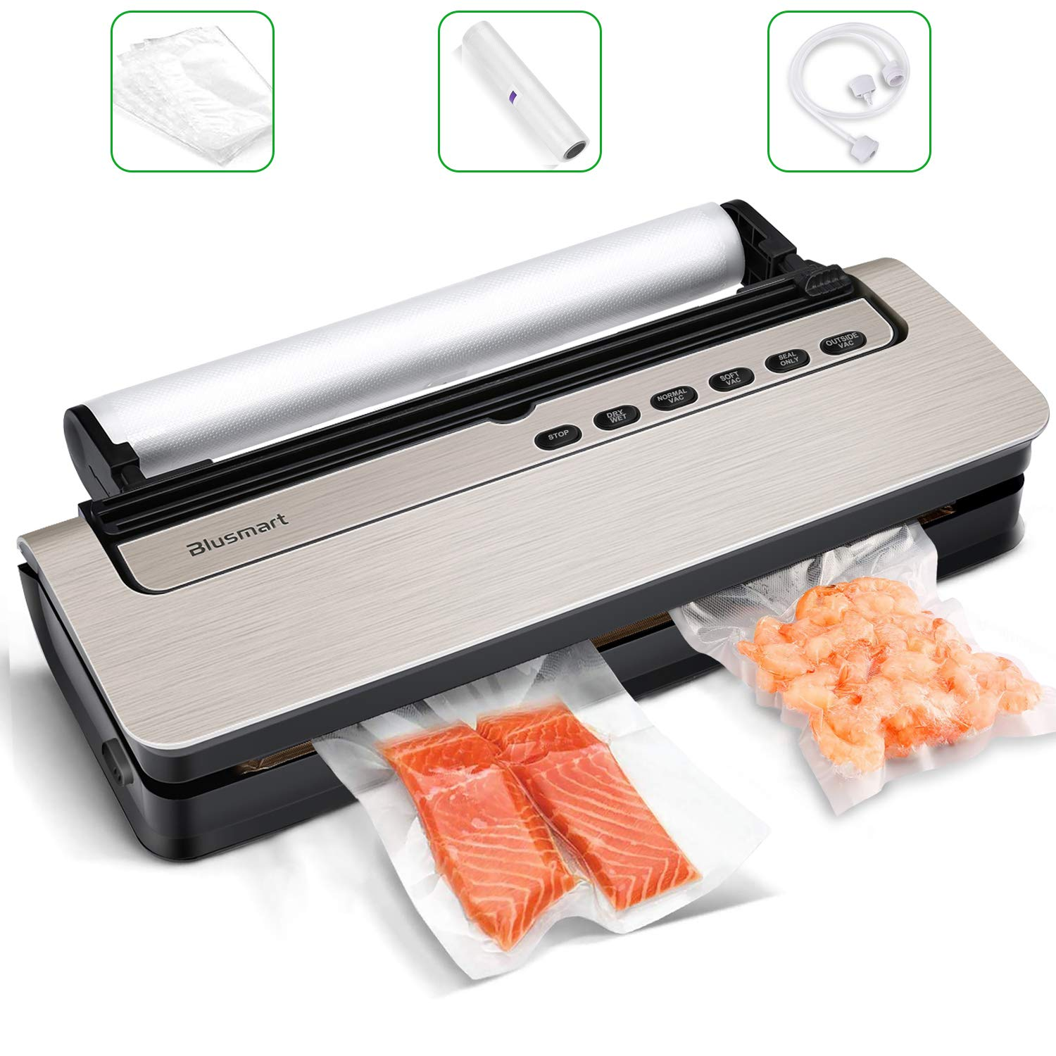 Vacuum Sealer Blusmart 80Kpa Food Sealer Machine Automatic Air Sealing System for FoodSaver Storage with Dry and Moist Modes. Starter Kit with Holder, Roll/Bags & Hose