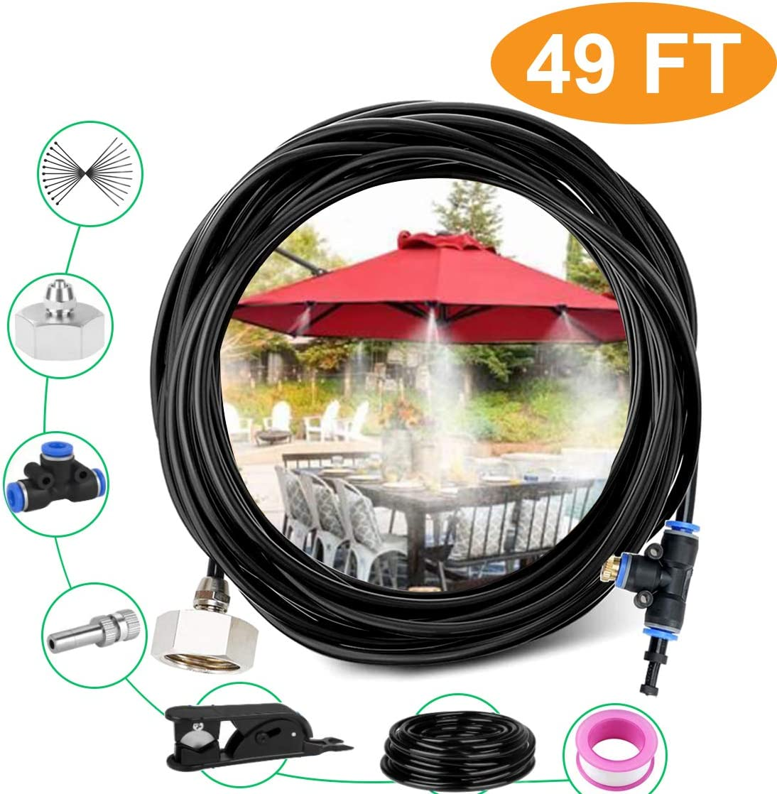 Risunpet Outdoor Misting Cooling System 49.2FT(15M) Misting Line 15 Copper Mist Nozzles and A Connector(3/4) for Patio Misting System Fan Outdoor Mist Kit Canopy Misting System Trampoline