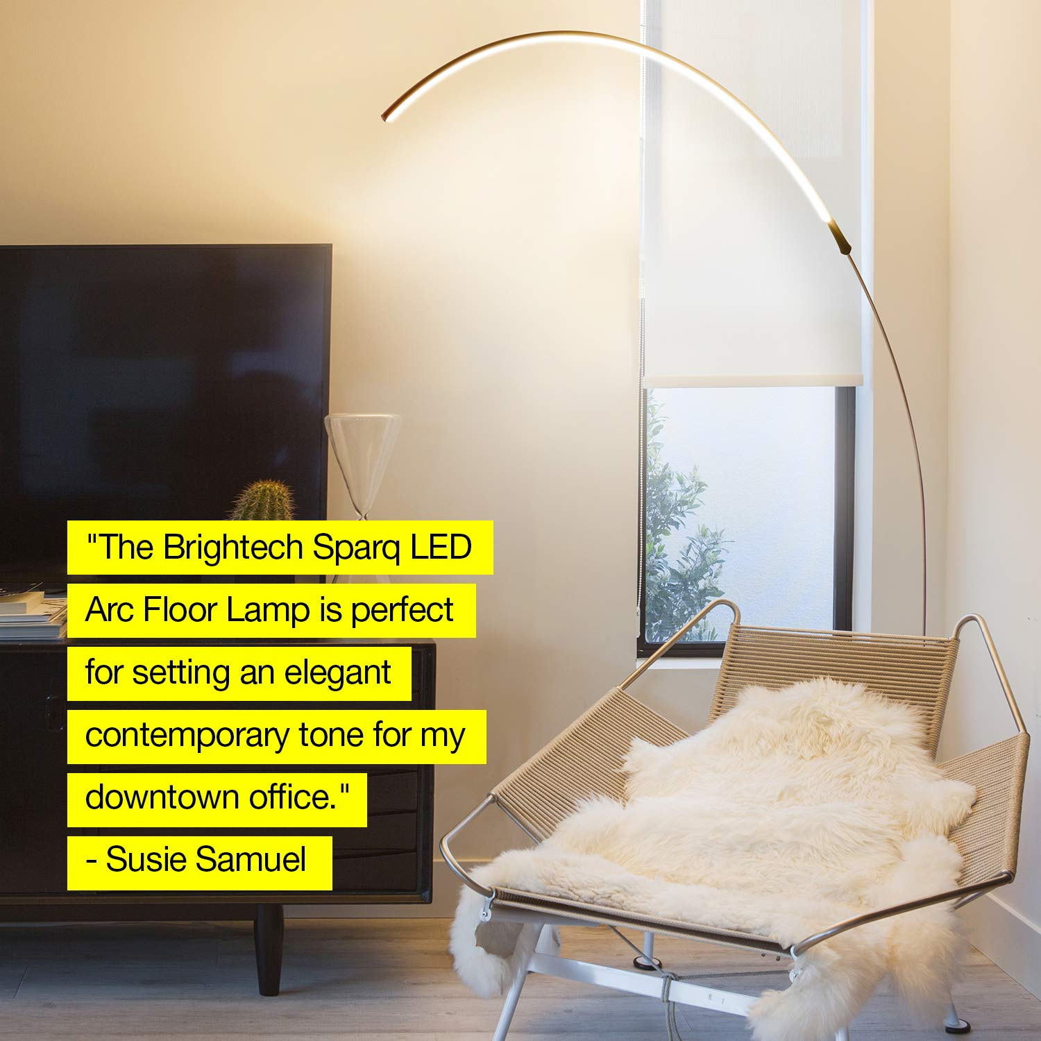 Brightech Sparq Arc LED Floor Lamp - Bright Standing Lamp for Living Room - Modern Arched Light for Behind the Couch - Dimmable Pole Lamp- Silver by Brightech (Image #9)