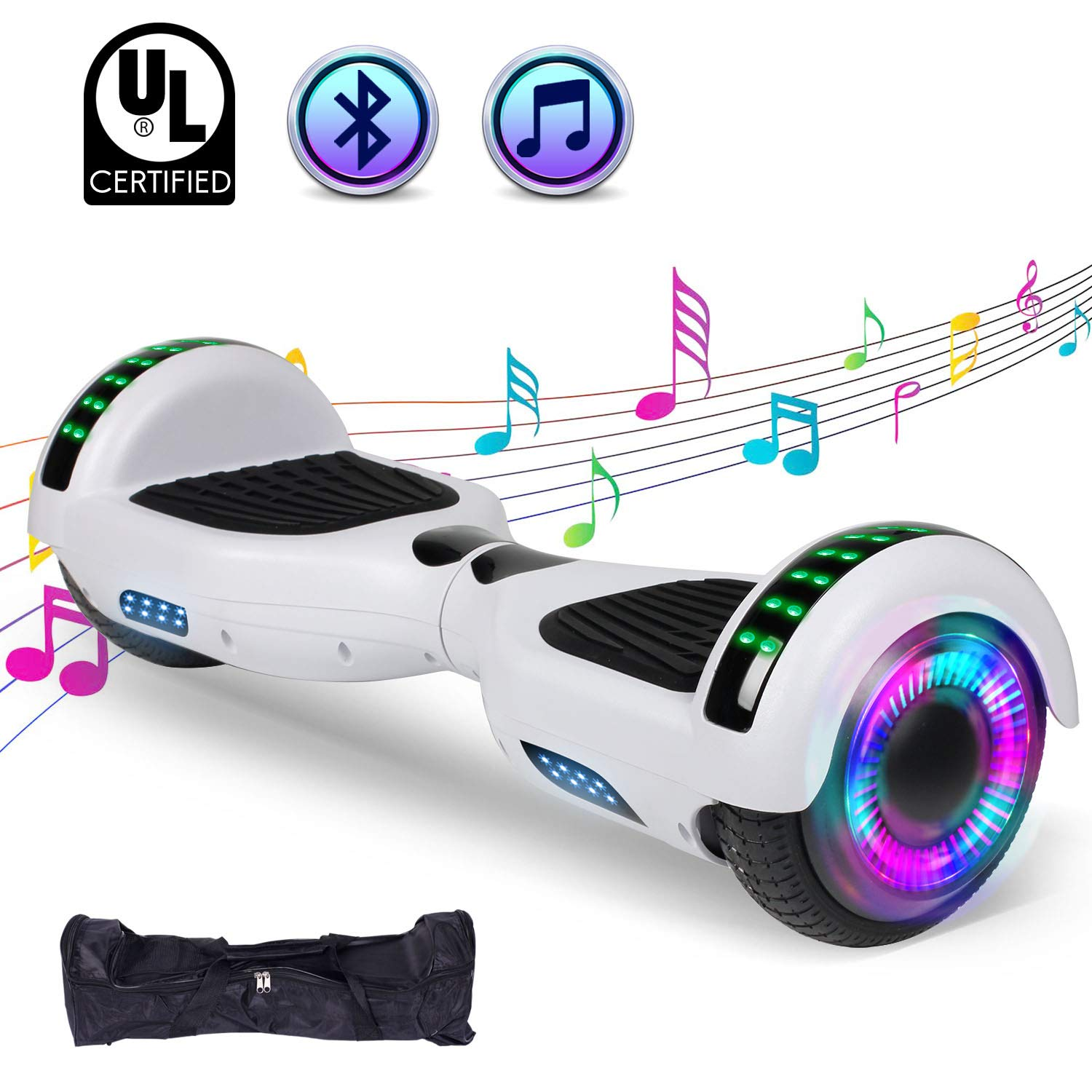 FLYING-ANT Hoverboard UL 2272 Certified 6.5'' Two-Wheel Bluetooth Self Balancing Electric Scooter with LED Light Flash Lights Wheels White(Free Carry Bag)