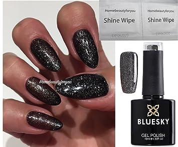 Bluesky Vip03 Black With Silver Glitter Abyss Nail Gel Polish Uv Led