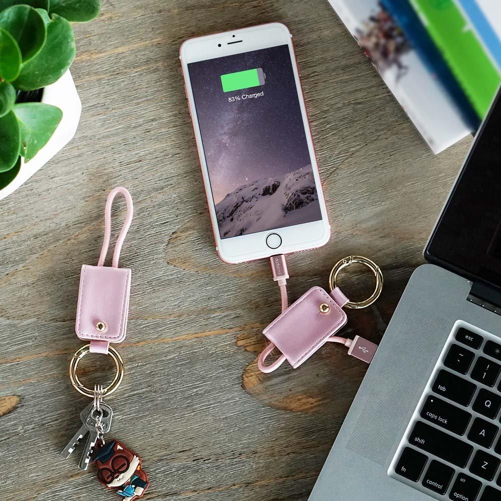 dodocool 2イン1 ライトニング USBケーブル キーホルダー付き [アップル MFi 認定] 0.51ft iPhone iPad iPod ローズゴールド