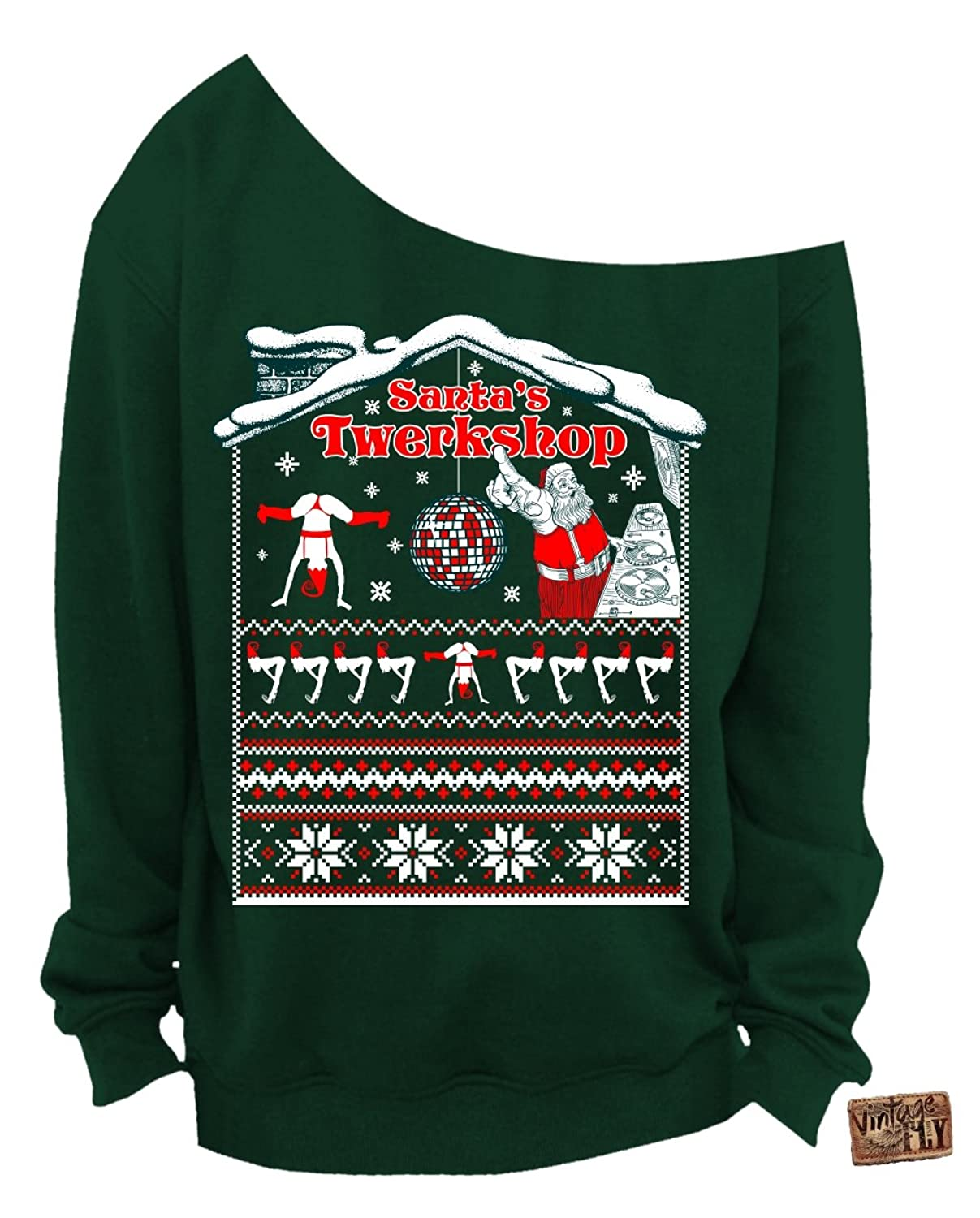 Vintage Fly Ladies Ugly Christmas Sweater Santa\'s Twerkshop Slouchy ...
