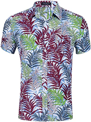 Camisas para Hombre De Verano Casual Camisa Hawaiana Patrón De Hoja Colorida Suelta Transpirable Solapa Manga Corta Camisa De Playa Tops: Amazon.es: Ropa y accesorios