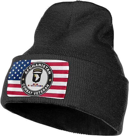 US Army 101st Airborne Division Afghanistan Combat Veteran Men/&Women Warm Winter Knit Plain Beanie Hat Skull Cap Acrylic Knit Cuff Hat