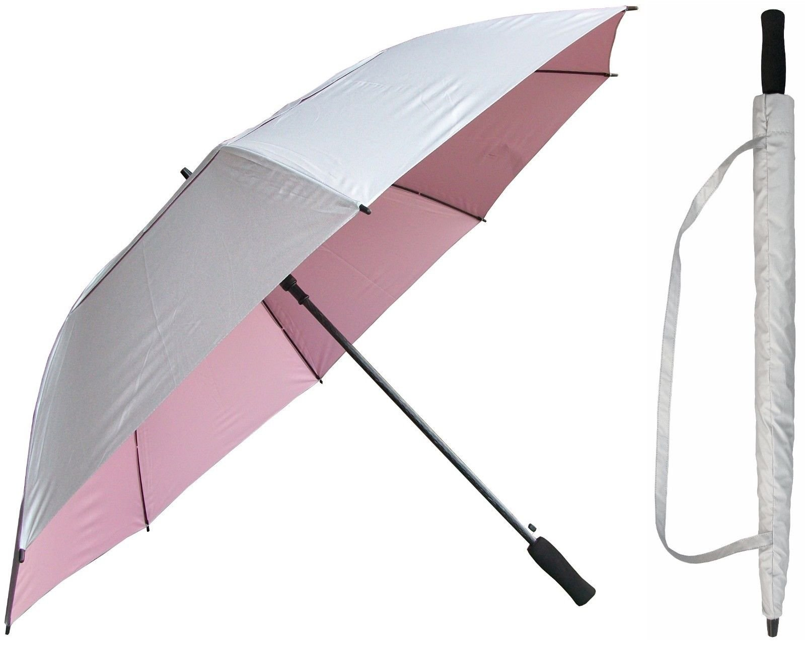 60 inch Silver & Light Pink Golf Umbrella - Vented Double-Canopy - Auto Open Button - Fiberglass Shaft and Frame - Windproof Stick Umbrellas