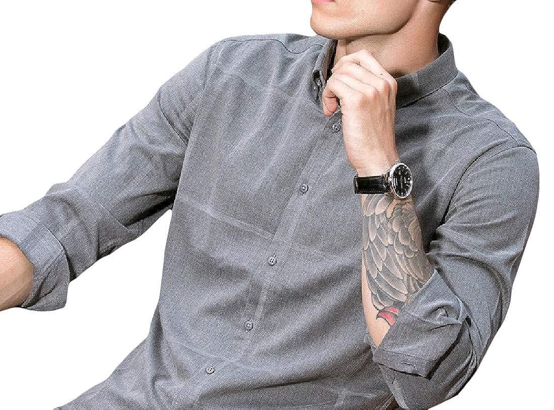 AngelSpace Men Standard-Fit Long-Sleeve Business Button Down Shirt