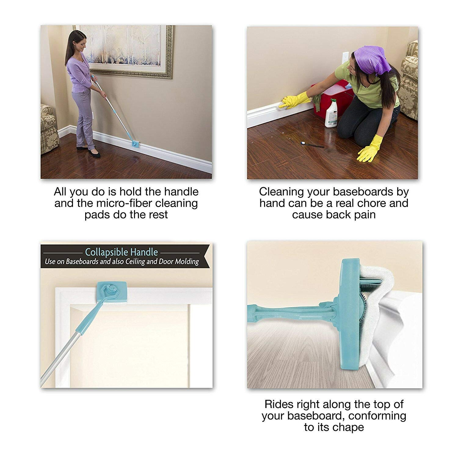 GATIK H.K.T Mop Brush Baseboard Buddy Extendable Microfiber Cleaning Simply Cleaner for Home