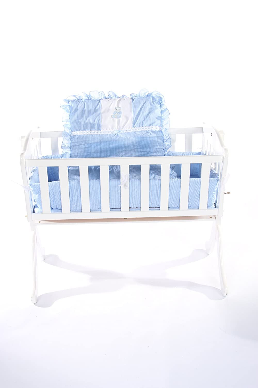 Brown 1511cr36 Baby Doll Bedding Gingham with Bear Applique Cradle Bedding Set