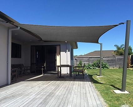 amazon de axt shade sonnensegel wasserabweisend 3x4m sonnenschutz impragniert pes polyester mit uv schutz fur terrasse balkon und garten graphit