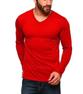 6c94afa44 Tripr Men s V-Neck Full Sleeves Tshirt Red (Small)  Amazon.in ...
