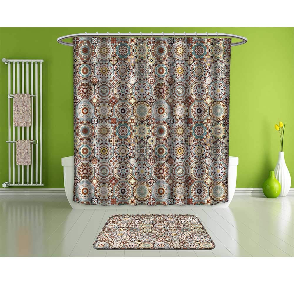 HoBeauty home Bathroom Suits &,Patchwork,Folkloric Tunisian Mosaic,Fashion Personality Customization adds Color to Your Bathroom.