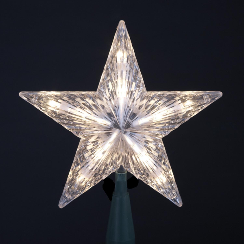 Kurt Adler 7'' Classic 5-Point Star Christmas Tree Topper - Clear Lights