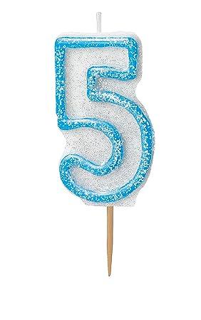 Unique Party- Vela de cumpleaños número 5, Color azul brillante (37925)