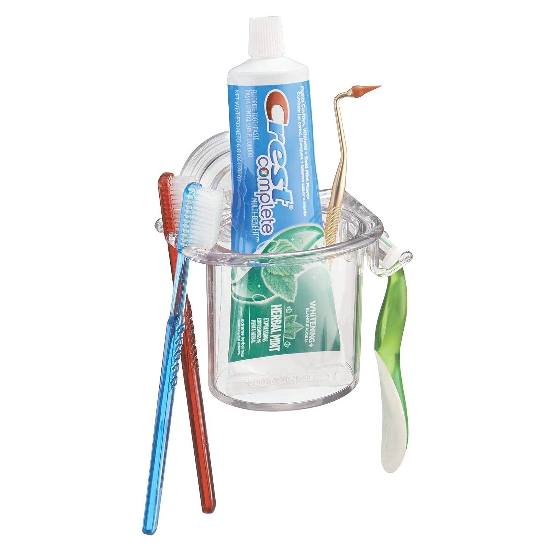 InterDesign - Power Lock - Organizador de cepillos de dientes y maquinitas de afeitar, con ventosa; para cubículo de ducha, espejo - Claro