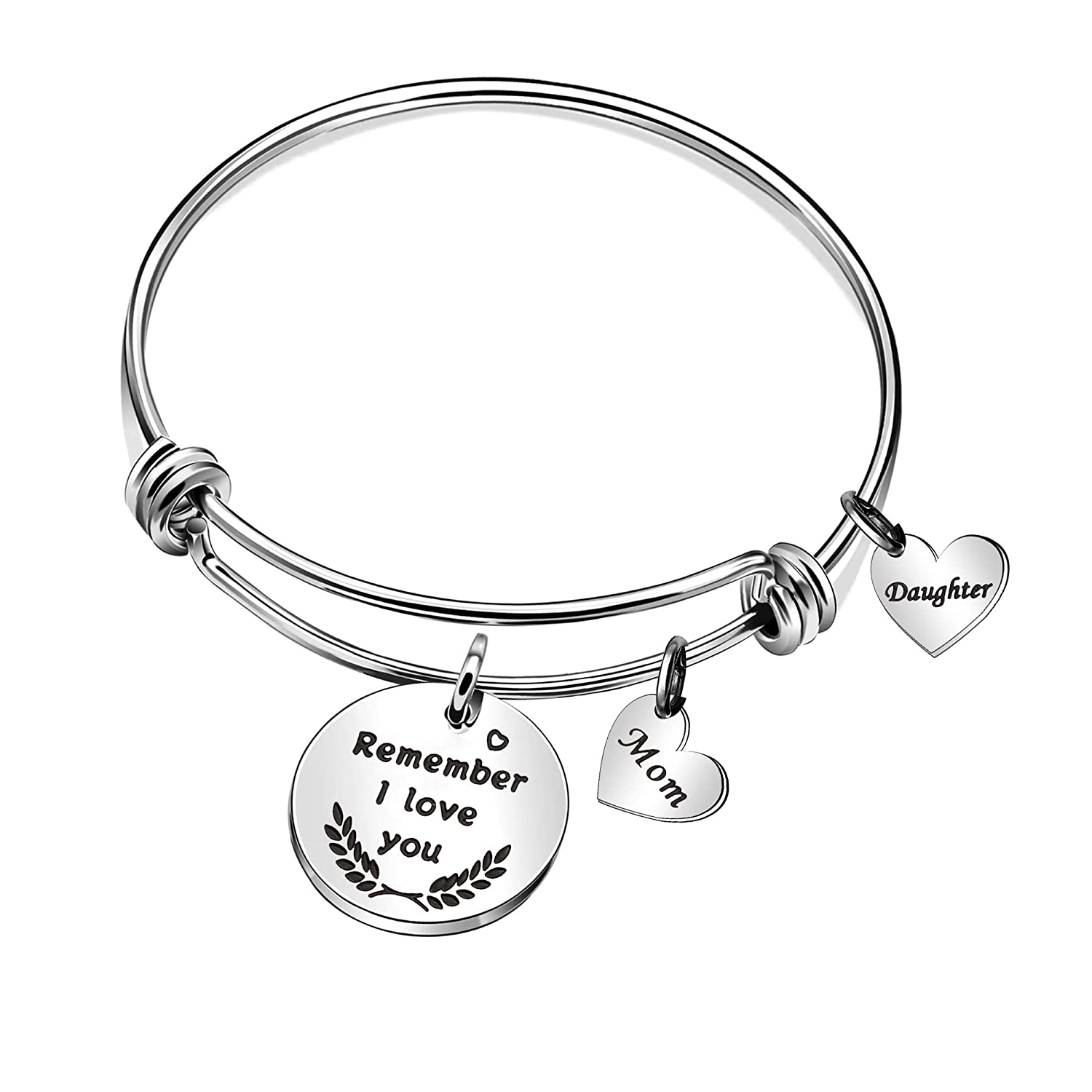 CAROMAY Mom Bangle Bracelets Women Mother Daughter Love Gift Mothers Day Birthday Present for Mommy Girls