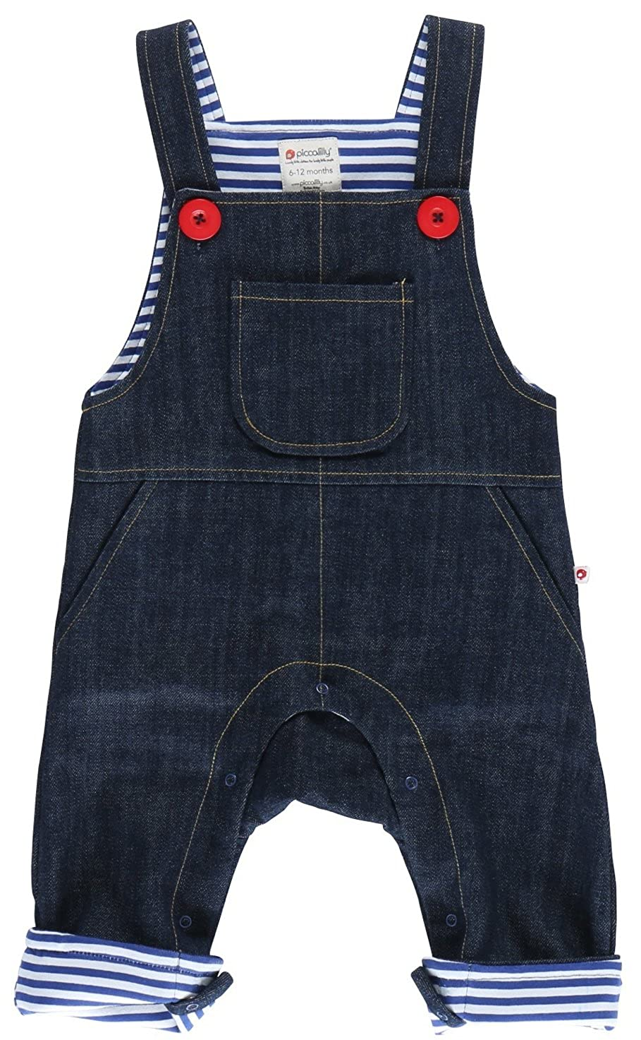 Piccalilly Organic Cotton Blue Baby Boys Denim Dungarees