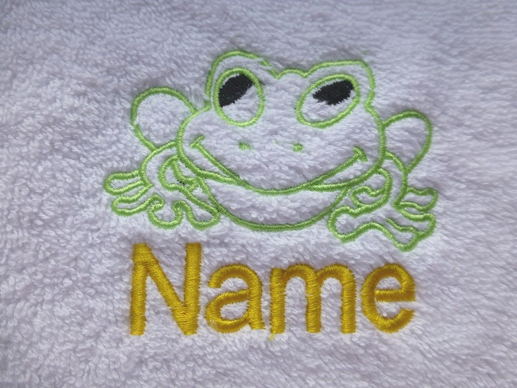 Face Cloth, Hand Towel, Bath Towel or Bath Sheet Personalised with FROG logo and name of your choice (Face Cloth 30x30cm) EFY