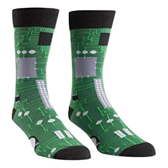 Review Sock It To Me Circuit Board Mens Crew Socks OS,Green,One Size
