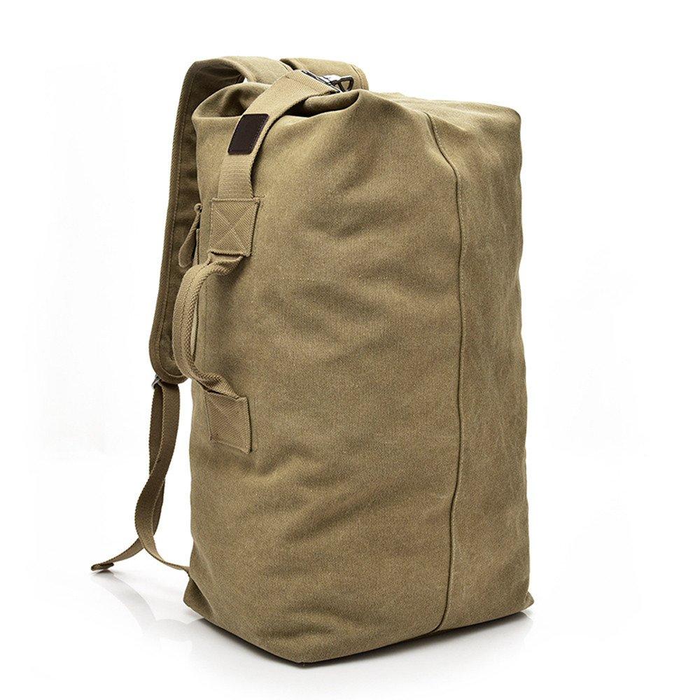ZHANGVIP Vintage Neutral Outdoor Travel Sport Canvas Backpack High Capacity Satchel Hiking Bag Satchels (Khaki, S)
