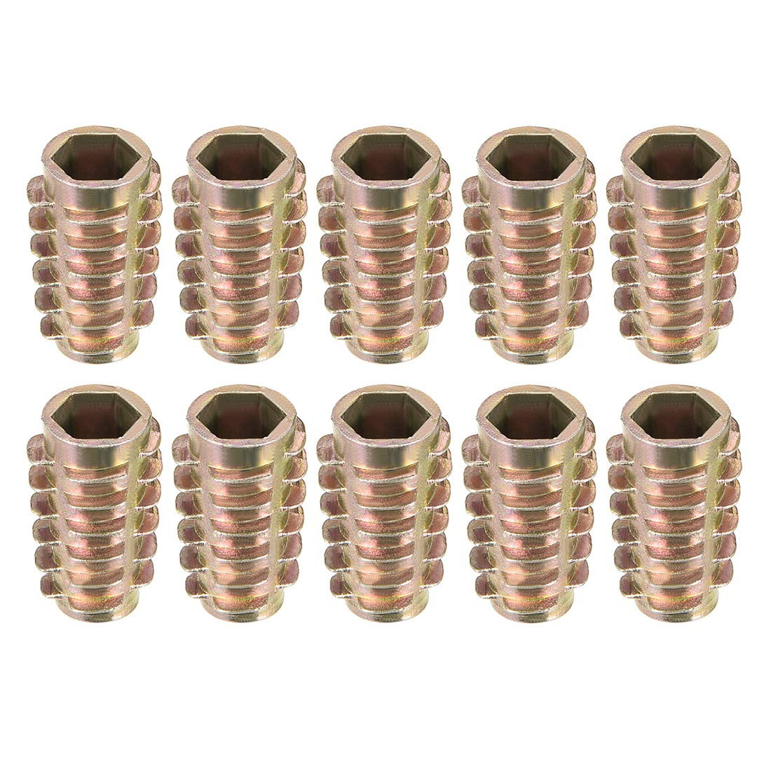 uxcell Threaded Insert Nuts Zinc Alloy Hex-Flush M8 Internal Threads 13mm Length 30pcs