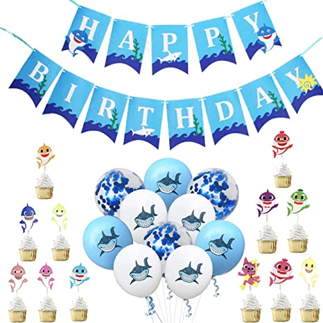 MJHE Baby Shark Happy Birthday Banner Set de artículos para ...