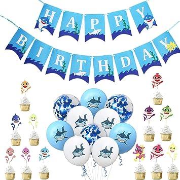 MJHE Baby Shark Happy Birthday Banner Set de artículos para ...