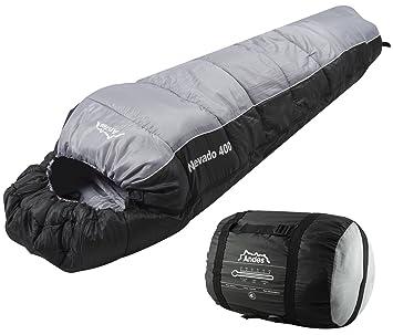 Andes Nevado - Saco de dormir, 400 XL, 4 temporadas, negro/gris: Amazon.es: Deportes y aire libre