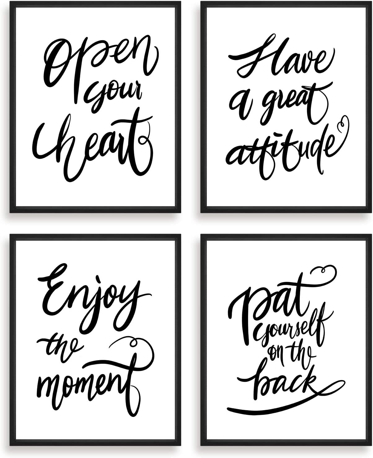 """Inspirational Wall Art, Positive Quotes Room Decor, Motivational Poster for Bedroom, Bathroom,Living Room, Office【Set of 4 (8""""X10""""), No Frame】"""