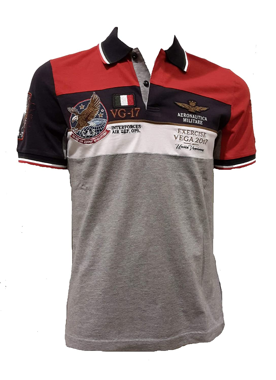 Aeronautica Militare Polo Shirt Homme PO1351J Rouge-gris-Bleu, Jersey, Tshirt, Blouson, Sweat, Pantalon
