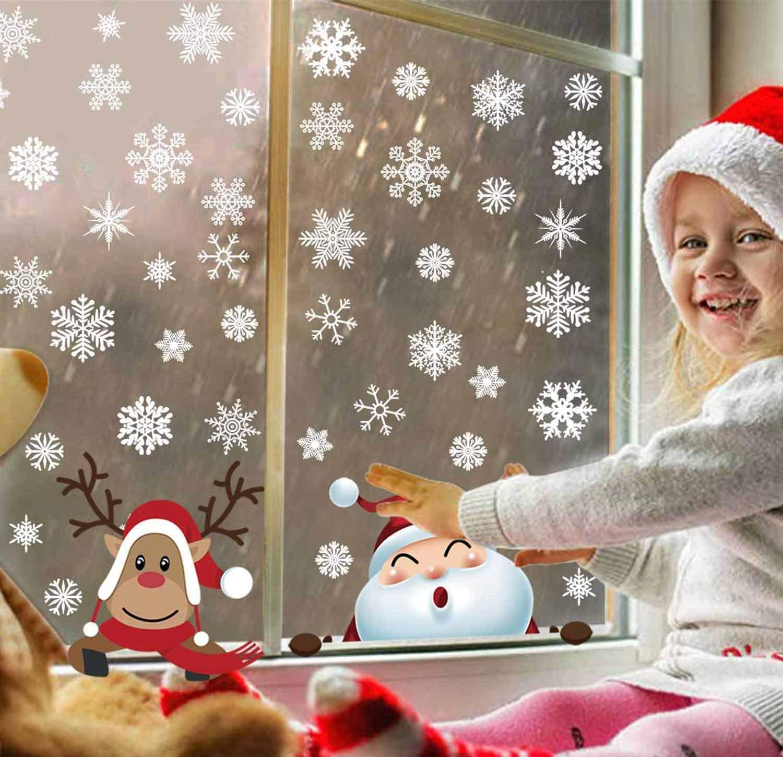 Heekpek Adesivo Fiocco di Neve Finestra Natale Vetrofanie Addobbi Fiocco di Neve Rimovibile Alce Babbo Natale Adesivo Natalizio Vetrine Buon Natale Festa Fai da te Decorazione Natalizie