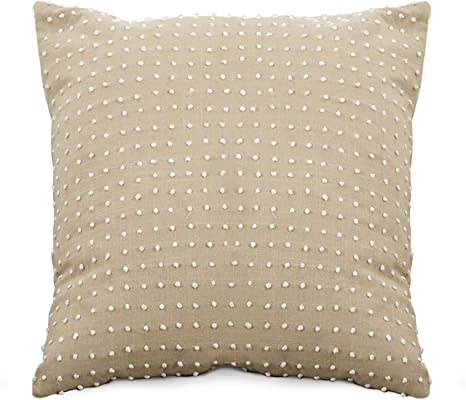 Amazon Com Saro Lifestyle Leilani Collection French Knot Design Down Filled Cotton Throw Pillow 20 Natural Home Kitchen